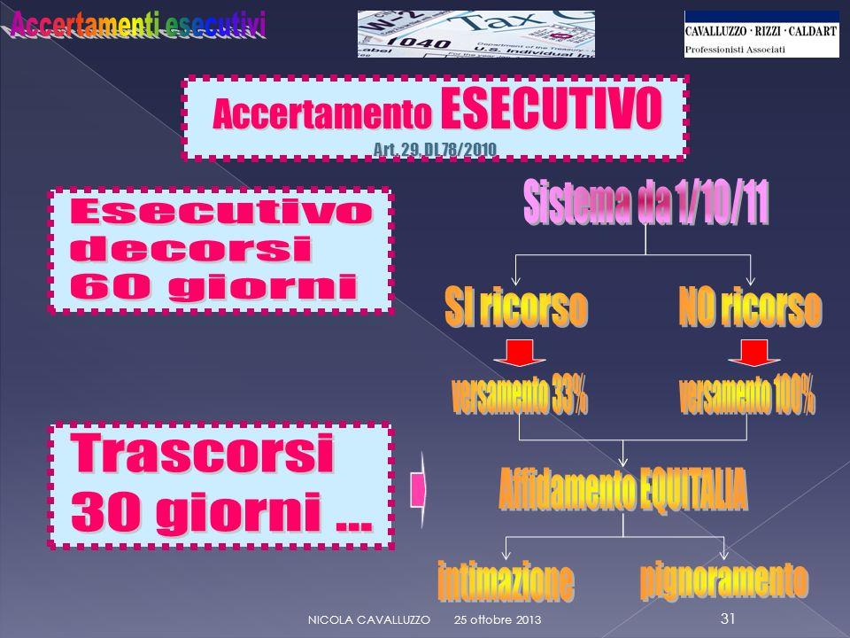 25 ottobre 2013 31 NICOLA CAVALLUZZO Accertamento ESECUTIVO Accertamento ESECUTIVO Art.