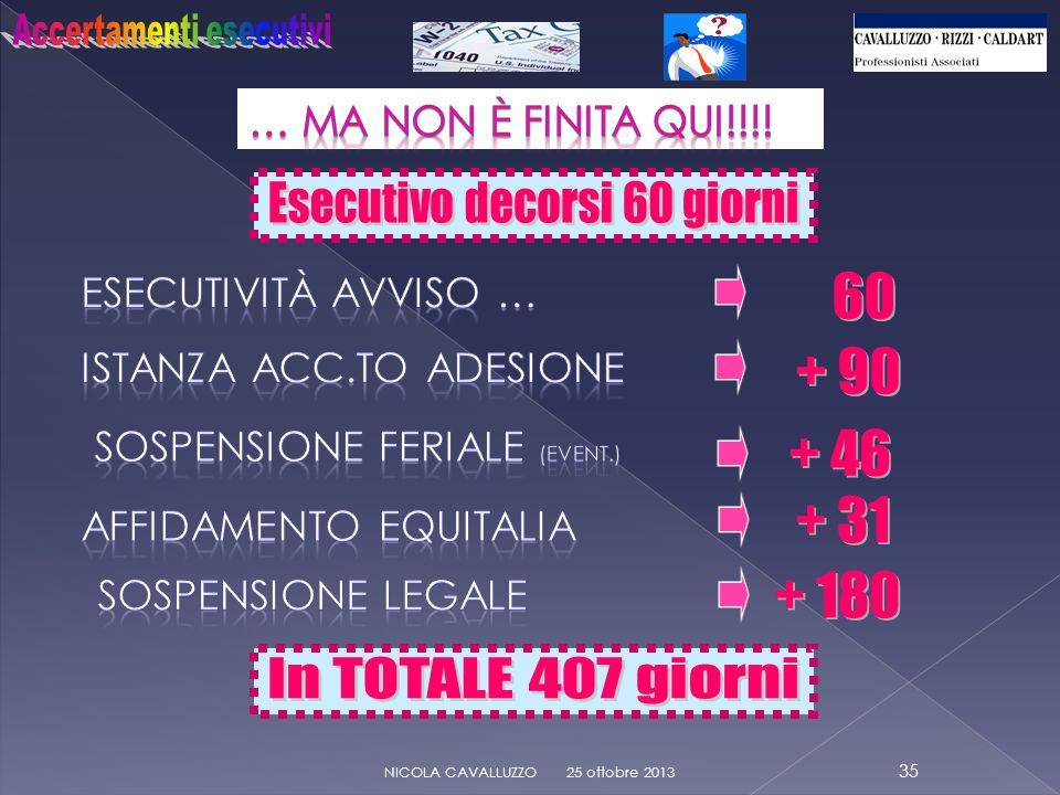 + 46 + 90 60 + 31 + 180 25 ottobre 2013 35 NICOLA CAVALLUZZO