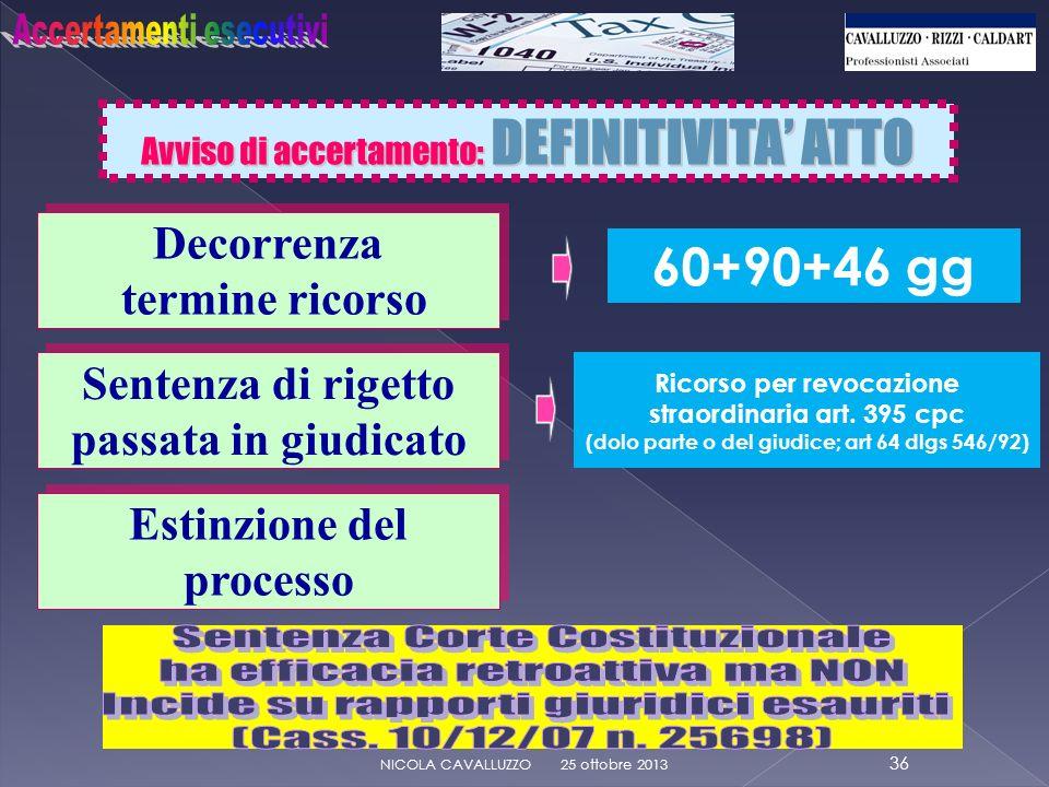 Avviso di accertamento: DEFINITIVITA ATTO 25 ottobre 2013 36 NICOLA CAVALLUZZO 60+90+46 gg Decorrenza termine ricorso Decorrenza termine ricorso Ricorso per revocazione straordinaria art.