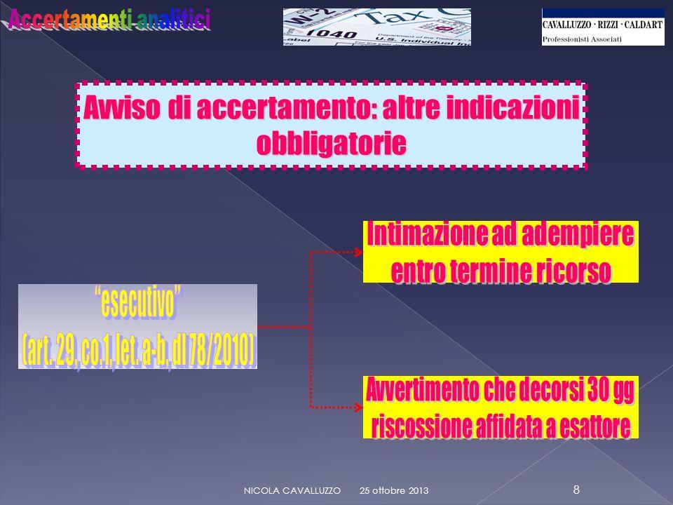 Avviso di accertamento: altre indicazioni obbligatorie 25 ottobre 2013 9 NICOLA CAVALLUZZO NO indic.