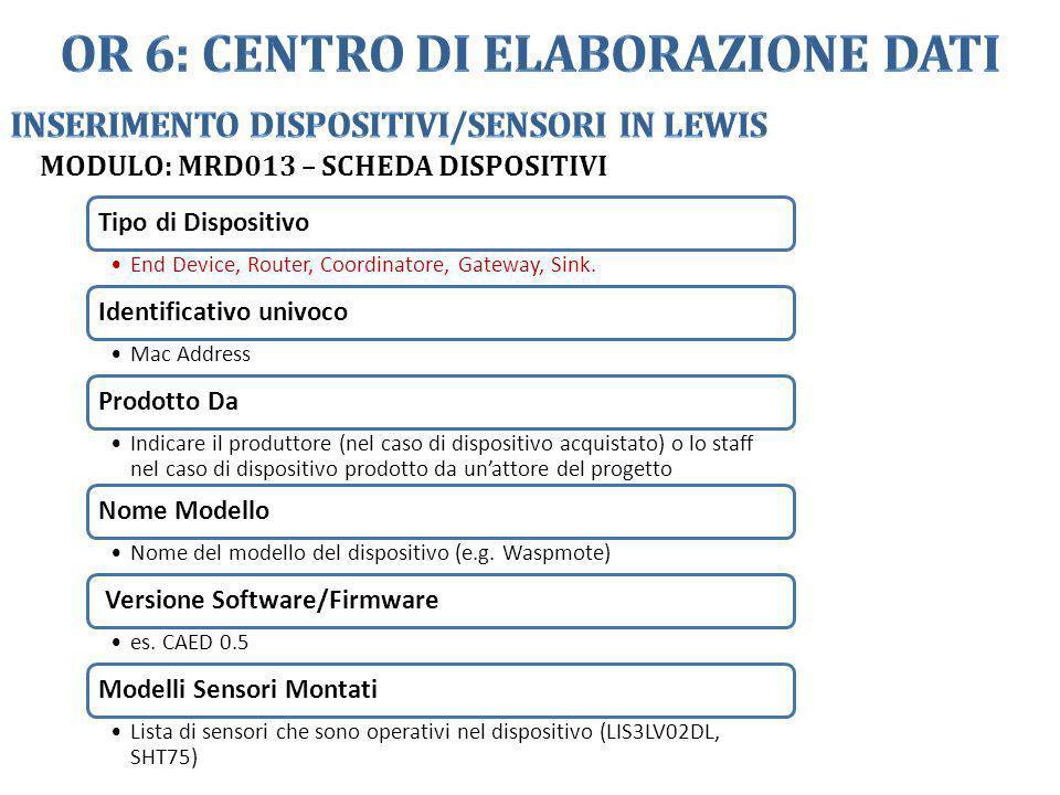 MODULO: MRD013 – SCHEDA DISPOSITIVI Tipo di Dispositivo End Device, Router, Coordinatore, Gateway, Sink. Identificativo univoco Mac Address Prodotto D