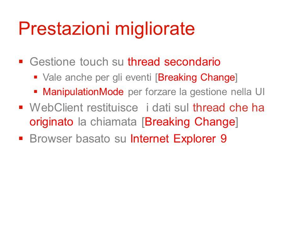 Prestazioni migliorate Gestione touch su thread secondario Vale anche per gli eventi [Breaking Change] ManipulationMode per forzare la gestione nella UI WebClient restituisce i dati sul thread che ha originato la chiamata [Breaking Change] Browser basato su Internet Explorer 9