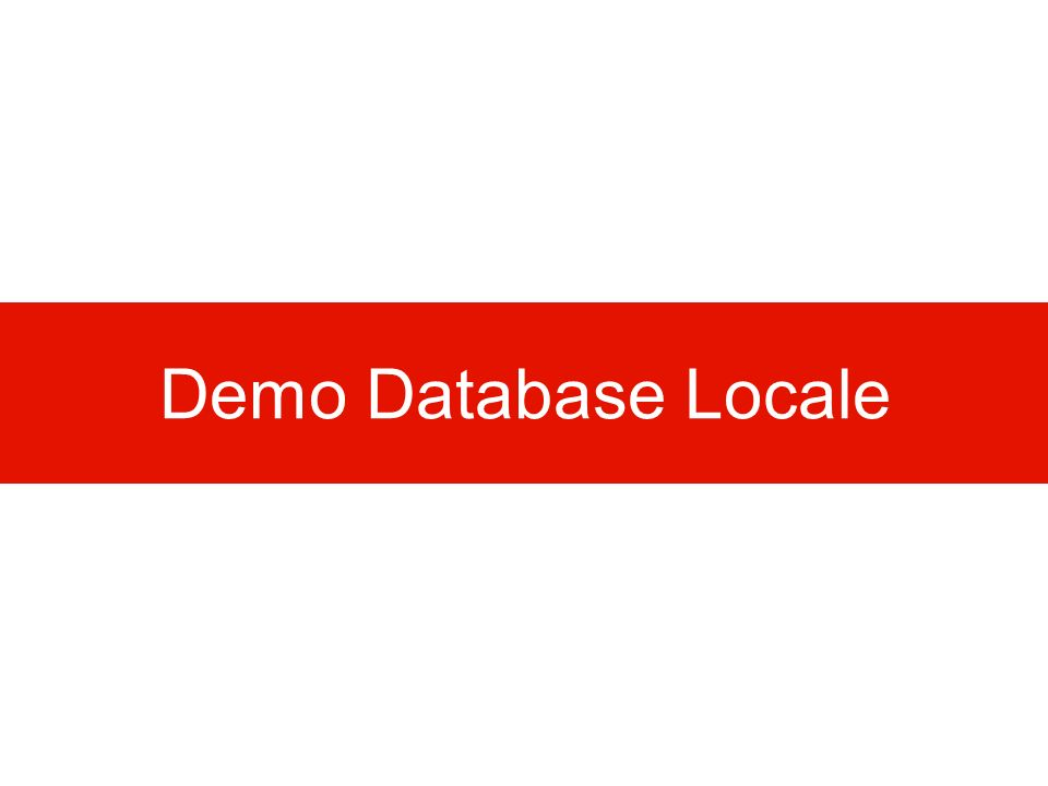 Demo Database Locale