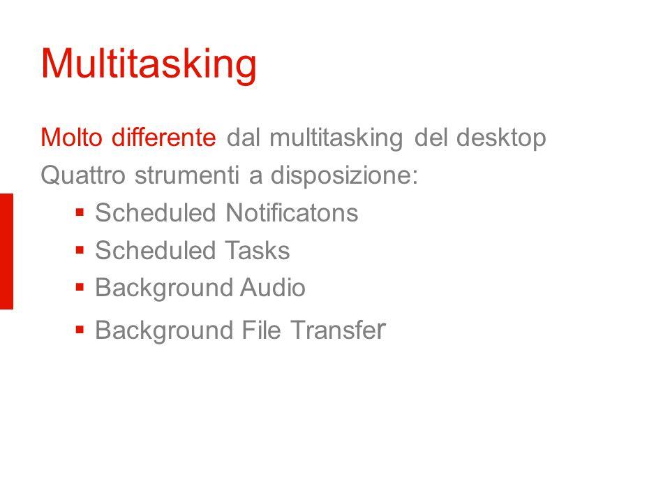 Multitasking Molto differente dal multitasking del desktop Quattro strumenti a disposizione: Scheduled Notificatons Scheduled Tasks Background Audio B