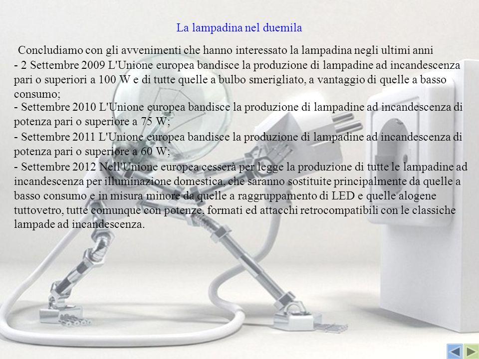La lampadina nel duemila - 2 Settembre 2009 L'Unione europea bandisce la produzione di lampadine ad incandescenza pari o superiori a 100 W e di tutte