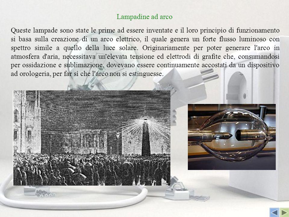 Lampadine ad arco Queste lampade sono state le prime ad essere inventate e il loro principio di funzionamento si basa sulla creazione di un arco elett