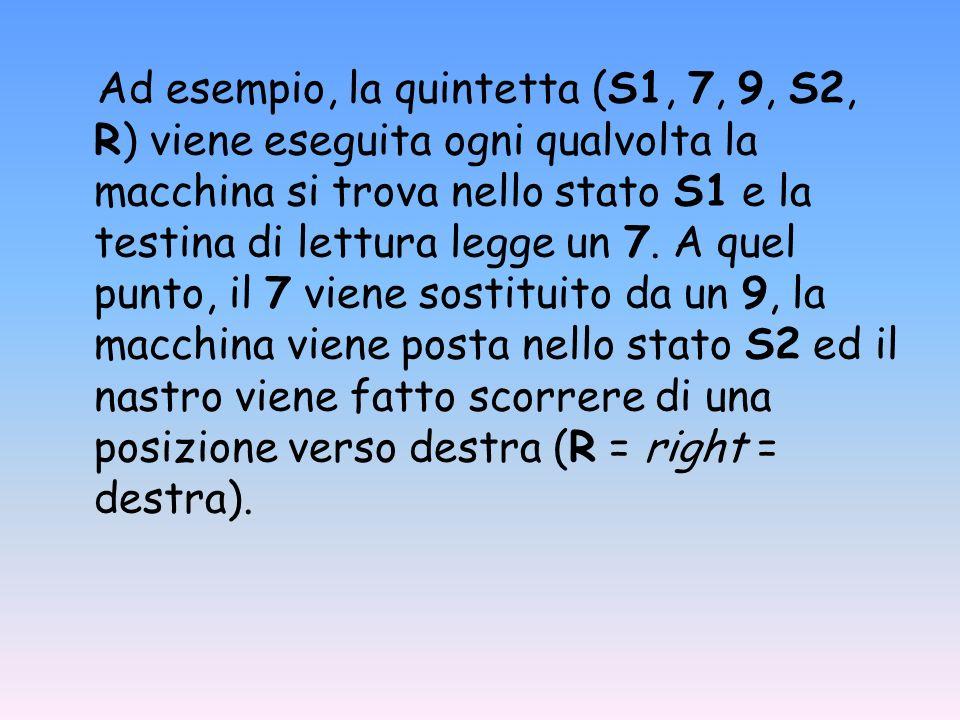 Ad esempio, la quintetta (S1, 7, 9, S2, R) viene eseguita ogni qualvolta la macchina si trova nello stato S1 e la testina di lettura legge un 7. A que