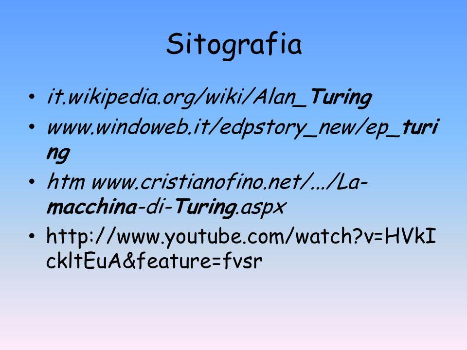 Sitografia it.wikipedia.org/wiki/Alan_Turing www.windoweb.it/edpstory_new/ep_turi ng htm www.cristianofino.net/.../La- macchina-di-Turing.aspx http://
