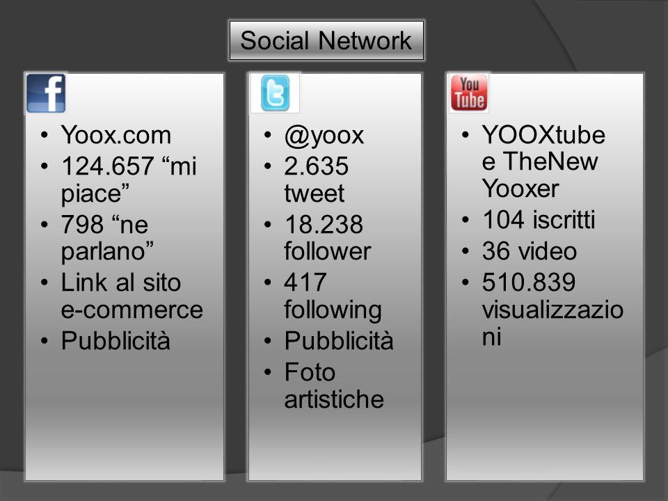 Yoox.com 124.657 mi piace 798 ne parlano Link al sito e-commerce Pubblicità @yoox 2.635 tweet 18.238 follower 417 following Pubblicità Foto artistiche