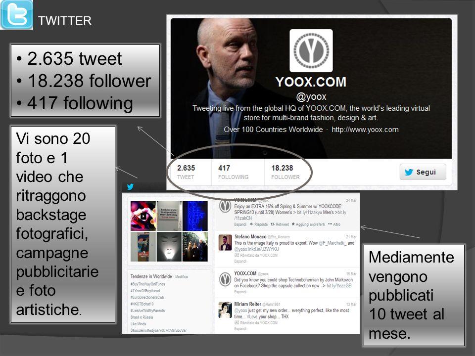 2.635 tweet 18.238 follower 417 following Mediamente vengono pubblicati 10 tweet al mese. Vi sono 20 foto e 1 video che ritraggono backstage fotografi
