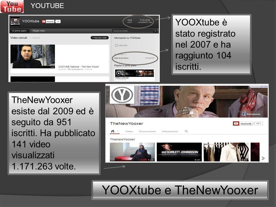 YOOXtube è stato registrato nel 2007 e ha raggiunto 104 iscritti. YOOXtube e TheNewYooxer TheNewYooxer esiste dal 2009 ed è seguito da 951 iscritti. H
