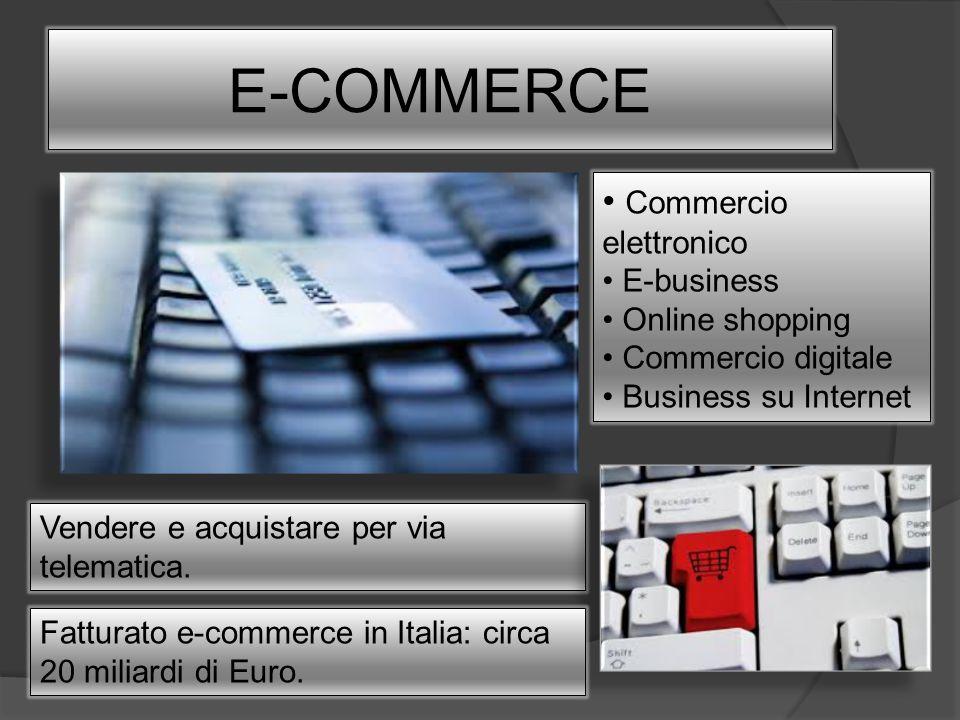 E-COMMERCE Vendere e acquistare per via telematica. Commercio elettronico E-business Online shopping Commercio digitale Business su Internet Fatturato