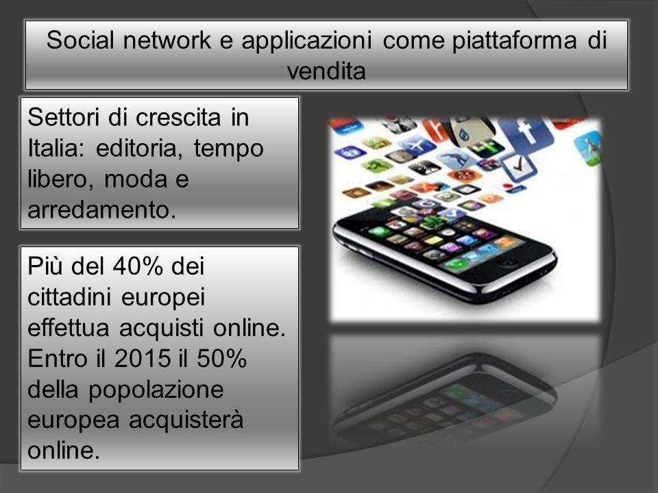 Social network e applicazioni come piattaforma di vendita Settori di crescita in Italia: editoria, tempo libero, moda e arredamento. Più del 40% dei c