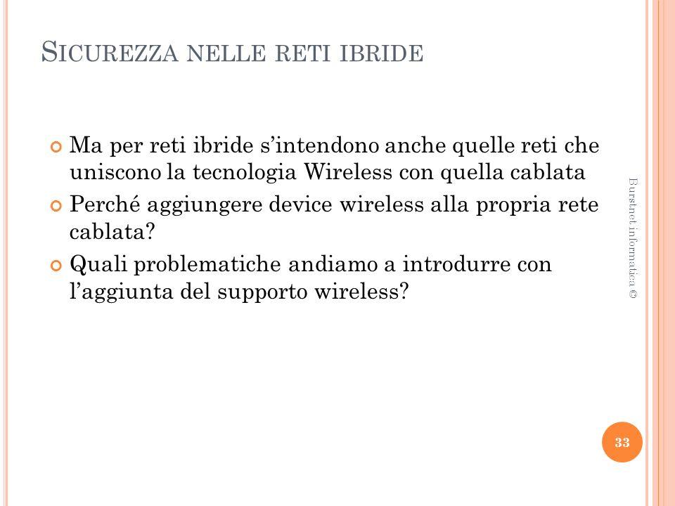 S ICUREZZA NELLE RETI IBRIDE Ma per reti ibride sintendono anche quelle reti che uniscono la tecnologia Wireless con quella cablata Perché aggiungere device wireless alla propria rete cablata.