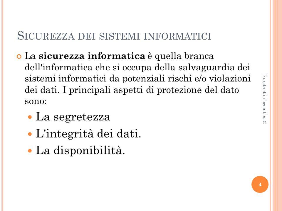 S ICUREZZA DEI SISTEMI INFORMATICI SEGRETEZZA: l informazione può essere rilasciata solo ad utenti autorizzati a conoscerla.