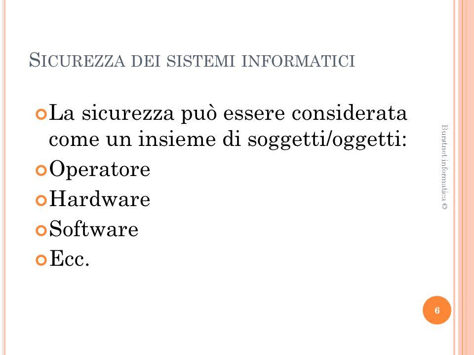 S ICUREZZA DEI SISTEMI INFORMATICI La sicurezza può essere considerata come un insieme di soggetti/oggetti: Operatore Hardware Software Ecc.