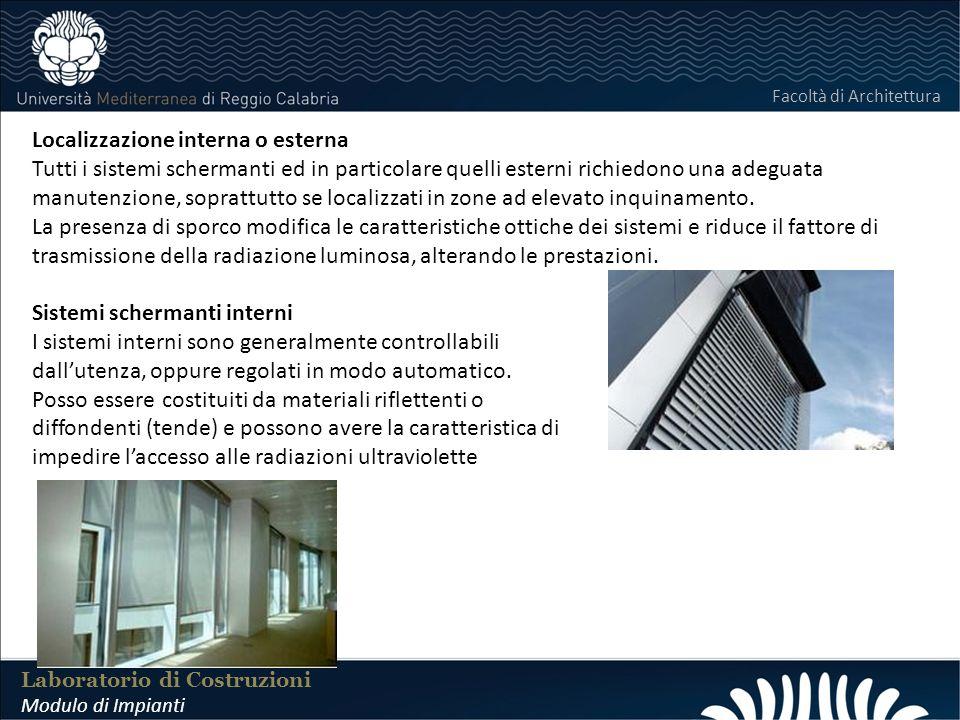 LABORATORIO DI COSTRUZIONI 25 FEBBRAIO 2011 Laboratorio di Costruzioni Modulo di Impianti Facoltà di Architettura Localizzazione interna o esterna Tut