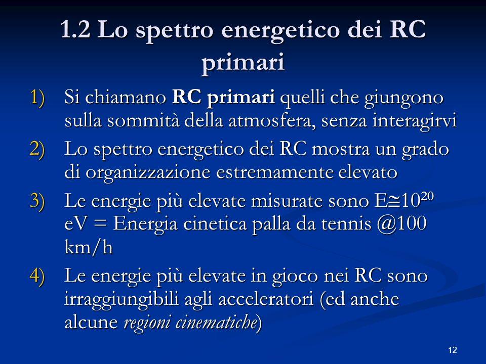 12 1.2 Lo spettro energetico dei RC primari 1)Si chiamano RC primari quelli che giungono sulla sommità della atmosfera, senza interagirvi 2)Lo spettro