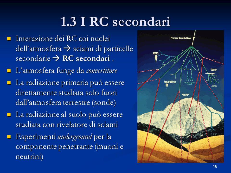 18 1.3 I RC secondari Interazione dei RC coi nuclei dellatmosfera sciami di particelle secondarie RC secondari. Interazione dei RC coi nuclei dellatmo