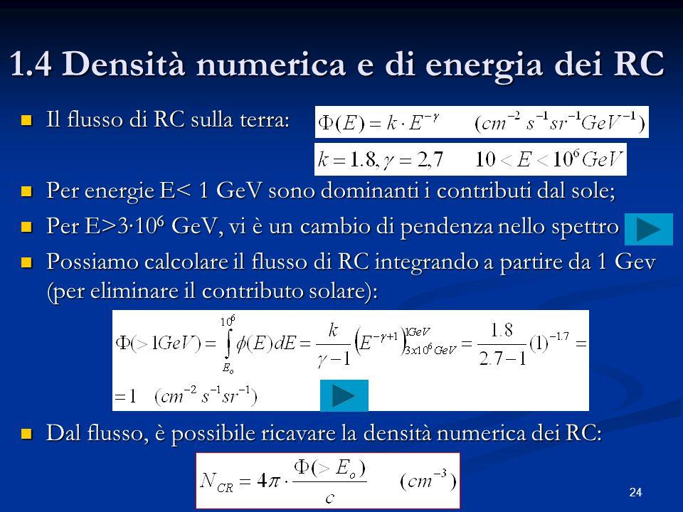 24 1.4 Densità numerica e di energia dei RC Il flusso di RC sulla terra: Il flusso di RC sulla terra: Per energie E< 1 GeV sono dominanti i contributi
