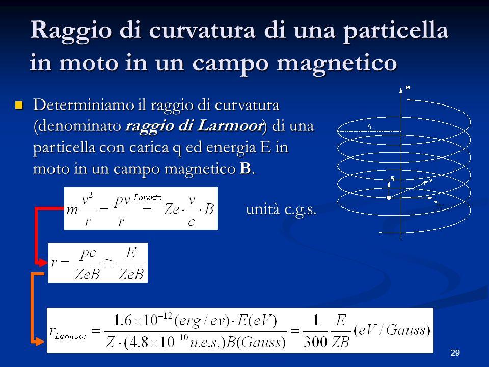 29 Raggio di curvatura di una particella in moto in un campo magnetico Determiniamo il raggio di curvatura (denominato raggio di Larmoor) di una parti