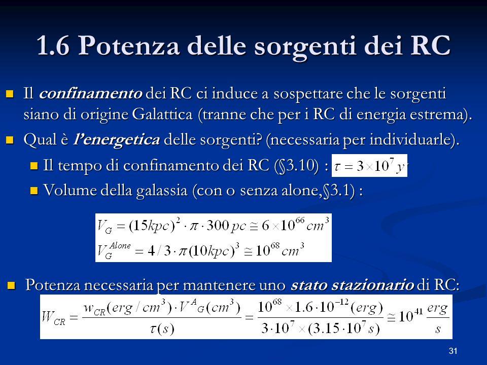 31 1.6 Potenza delle sorgenti dei RC Il confinamento dei RC ci induce a sospettare che le sorgenti siano di origine Galattica (tranne che per i RC di