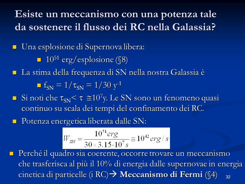 32 Esiste un meccanismo con una potenza tale da sostenere il flusso dei RC nella Galassia? Una esplosione di Supernova libera: Una esplosione di Super