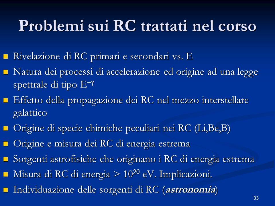 33 Problemi sui RC trattati nel corso Rivelazione di RC primari e secondari vs. E Rivelazione di RC primari e secondari vs. E Natura dei processi di a