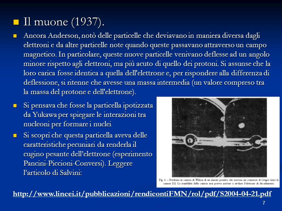 7 Il muone (1937). Il muone (1937). Ancora Anderson, notò delle particelle che deviavano in maniera diversa dagli elettroni e da altre particelle note