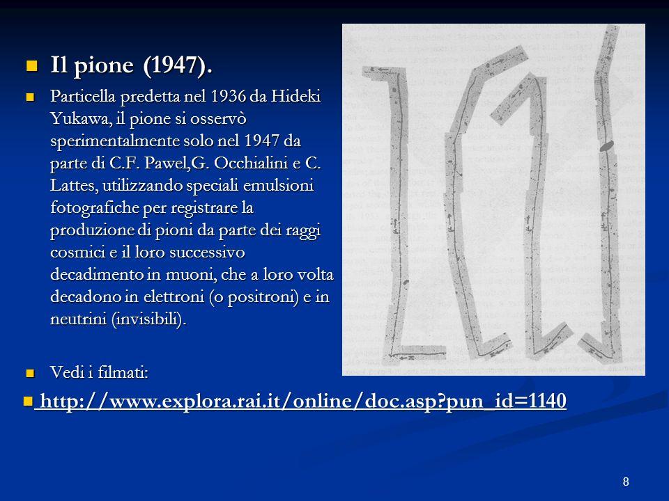 8 Il pione (1947). Il pione (1947). Particella predetta nel 1936 da Hideki Yukawa, il pione si osservò sperimentalmente solo nel 1947 da parte di C.F.