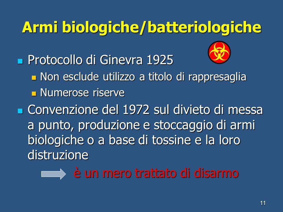 Armi biologiche/batteriologiche Protocollo di Ginevra 1925 Protocollo di Ginevra 1925 Non esclude utilizzo a titolo di rappresaglia Non esclude utiliz