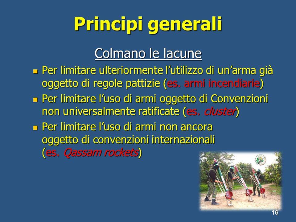 Principi generali Colmano le lacune Per limitare ulteriormente lutilizzo di unarma già oggetto di regole pattizie (es. armi incendiarie) Per limitare