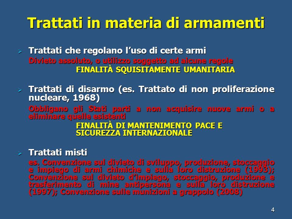 Trattati in materia di armamenti Trattati che regolano luso di certe armi Trattati che regolano luso di certe armi Divieto assoluto, o utilizzo sogget