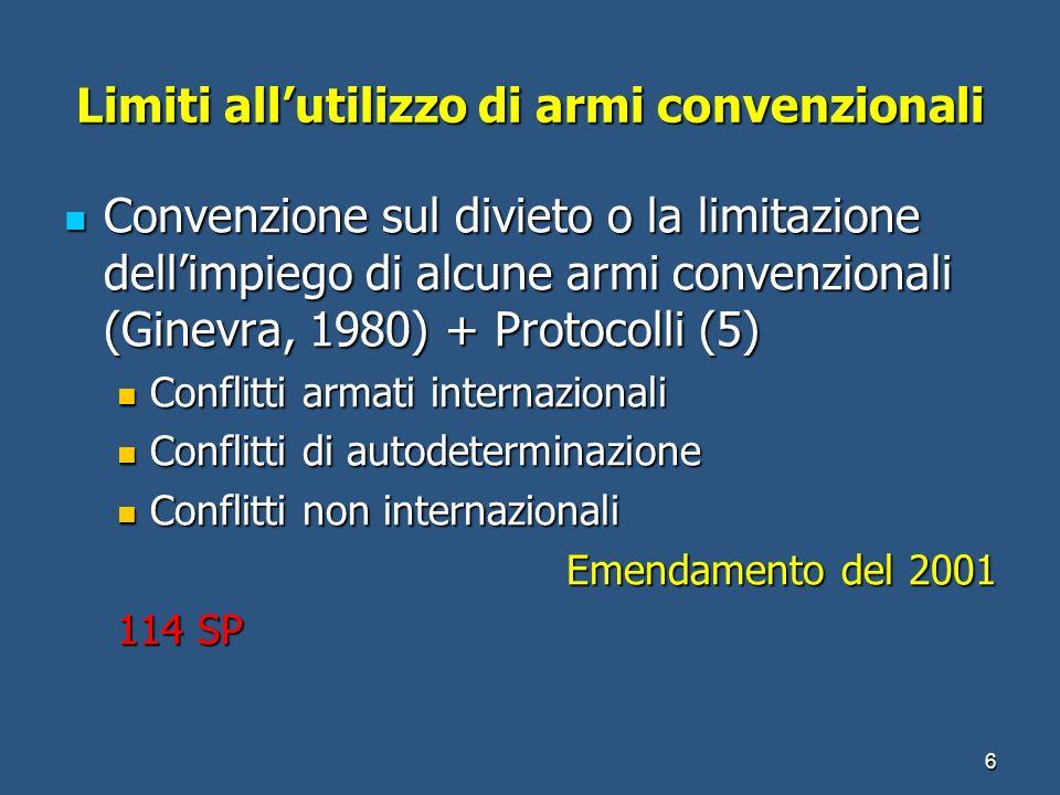 Limiti allutilizzo di armi convenzionali Convenzione sul divieto o la limitazione dellimpiego di alcune armi convenzionali (Ginevra, 1980) + Protocoll