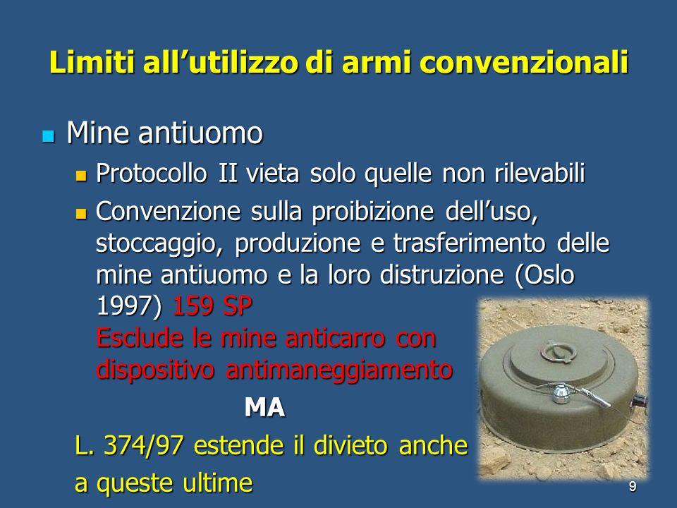 Limiti allutilizzo di armi convenzionali 9 Mine antiuomo Mine antiuomo Protocollo II vieta solo quelle non rilevabili Protocollo II vieta solo quelle