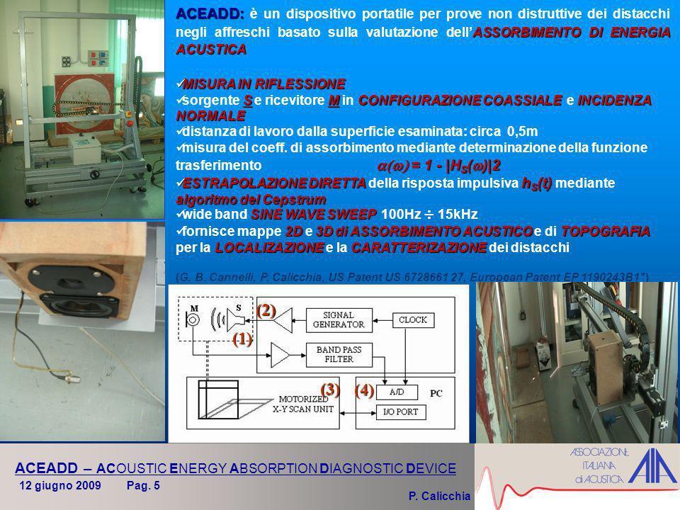 P. Calicchia ACEADD – ACOUSTIC ENERGY ABSORPTION DIAGNOSTIC DEVICE ACEADD: ASSORBIMENTO DI ENERGIA ACUSTICA ACEADD: è un dispositivo portatile per pro