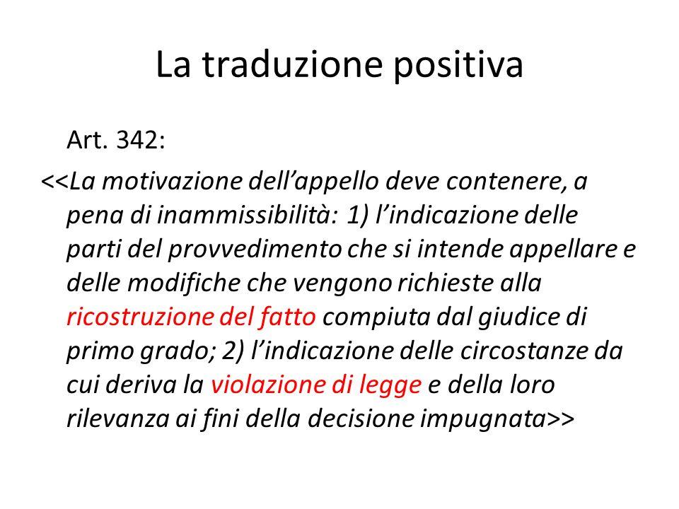 La traduzione positiva Art. 342: >