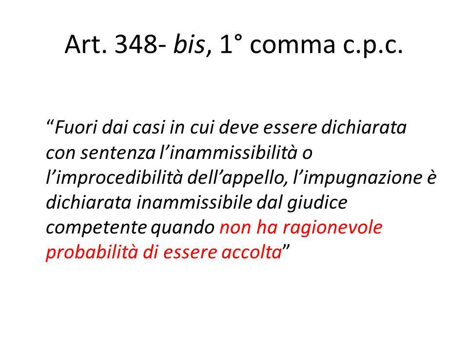 Art. 348- bis, 1° comma c.p.c. Fuori dai casi in cui deve essere dichiarata con sentenza linammissibilità o limprocedibilità dellappello, limpugnazion