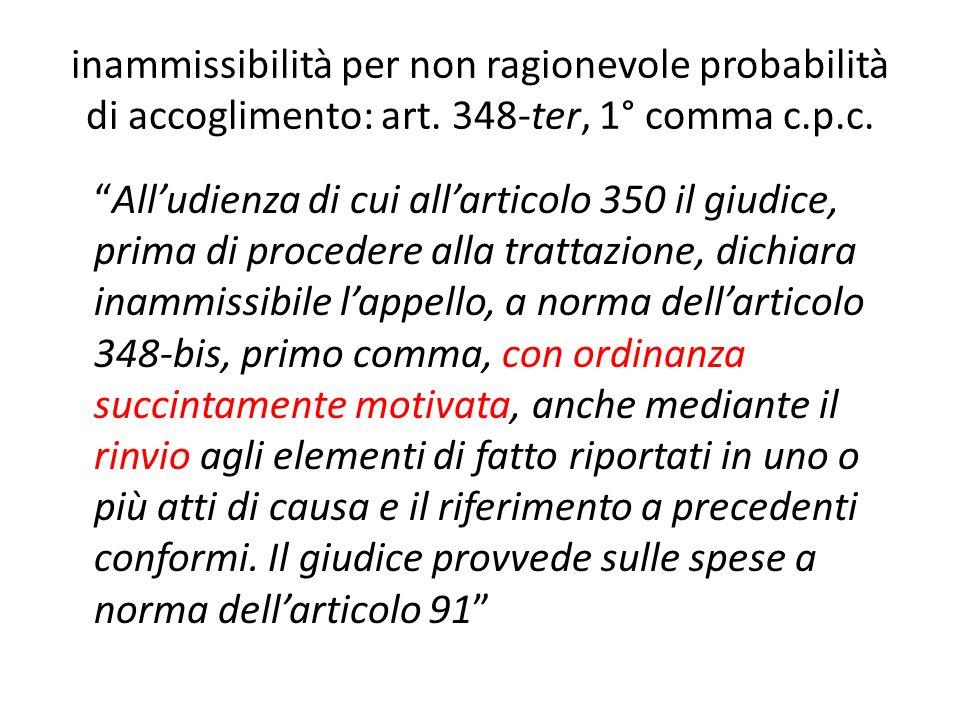 inammissibilità per non ragionevole probabilità di accoglimento: art. 348-ter, 1° comma c.p.c. Alludienza di cui allarticolo 350 il giudice, prima di
