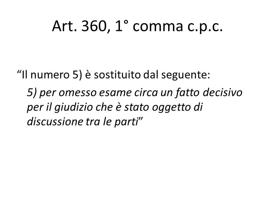 Art. 360, 1° comma c.p.c. Il numero 5) è sostituito dal seguente: 5) per omesso esame circa un fatto decisivo per il giudizio che è stato oggetto di d