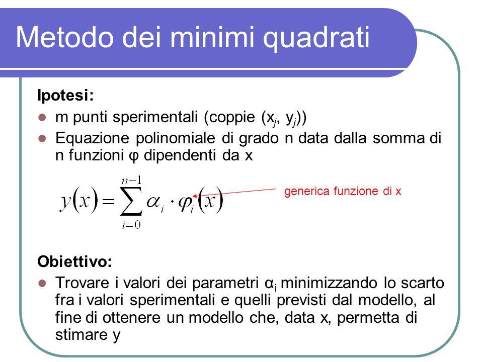 Metodo dei minimi quadrati Termine da minimizzare: il quadrato dello scarto tra i dati sperimentali e quelli previsti dal modello scarto della j-esima coppia