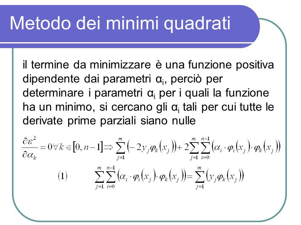 Metodo dei minimi quadrati il termine da minimizzare è una funzione positiva dipendente dai parametri α i, perciò per determinare i parametri α i per