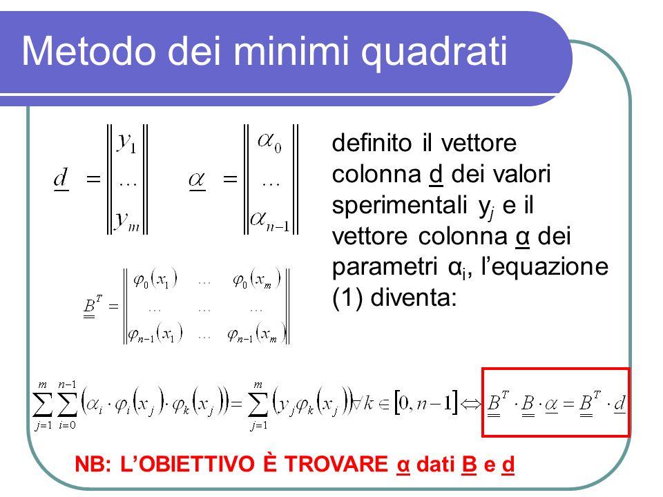 Metodo dei minimi quadrati definito il vettore colonna d dei valori sperimentali y j e il vettore colonna α dei parametri α i, lequazione (1) diventa: