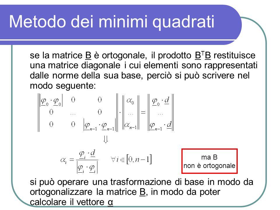 Metodo dei minimi quadrati se la matrice B è ortogonale, il prodotto B T B restituisce una matrice diagonale i cui elementi sono rappresentati dalle n