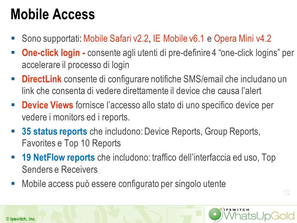 13 © Ipswitch, Inc. Mobile Access Sono supportati: Mobile Safari v2.2, IE Mobile v6.1 e Opera Mini v4.2 One-click login - consente agli utenti di pre-