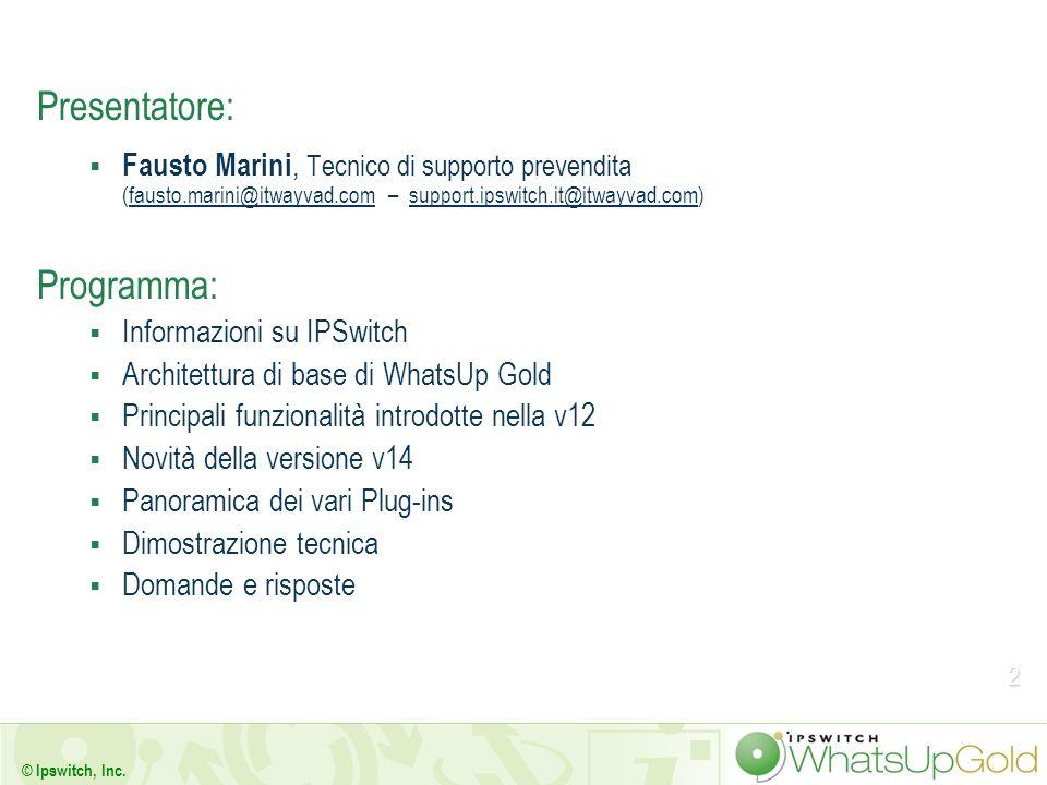 2 © Ipswitch, Inc. Presentatore: Fausto Marini, Tecnico di supporto prevendita (fausto.marini@itwayvad.com – support.ipswitch.it@itwayvad.com)fausto.m