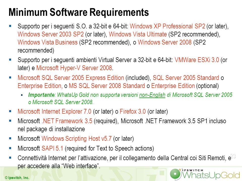 23 Minimum Software Requirements Supporto per i seguenti S.O. a 32-bit e 64-bit: Windows XP Professional SP2 (or later), Windows Server 2003 SP2 (or l