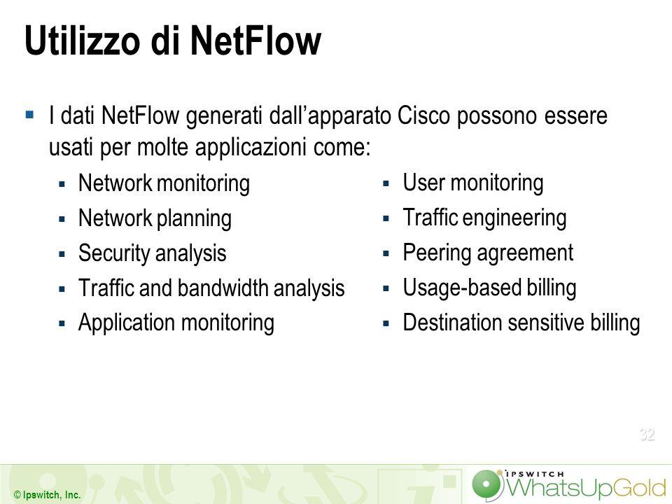 32 © Ipswitch, Inc. Utilizzo di NetFlow I dati NetFlow generati dallapparato Cisco possono essere usati per molte applicazioni come: Network monitorin