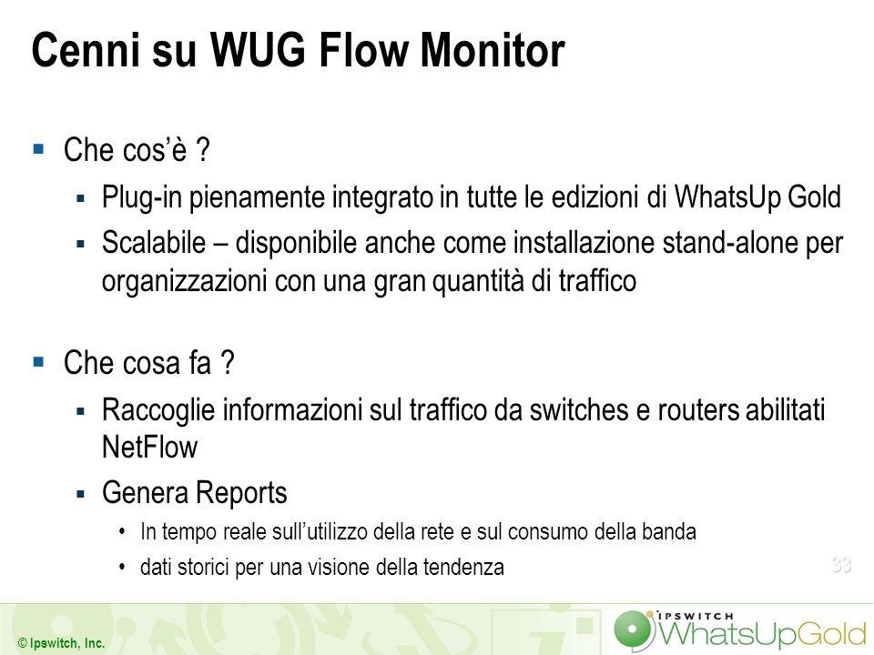 33 © Ipswitch, Inc. Cenni su WUG Flow Monitor Che cosè ? Plug-in pienamente integrato in tutte le edizioni di WhatsUp Gold Scalabile – disponibile anc