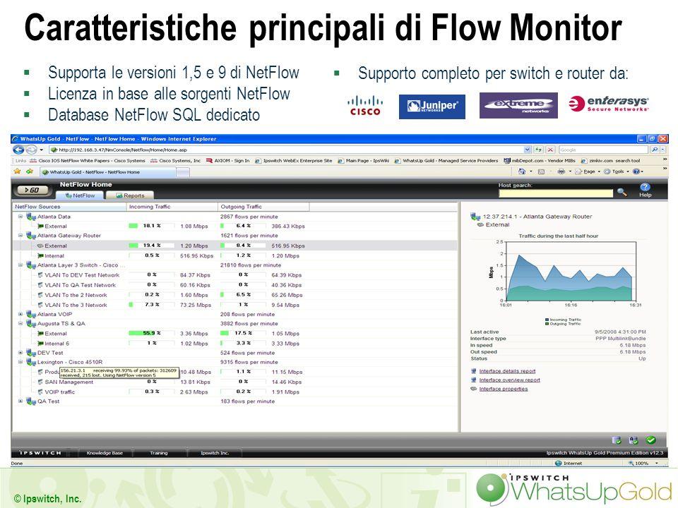 35 © Ipswitch, Inc. Caratteristiche principali di Flow Monitor Supporta le versioni 1,5 e 9 di NetFlow Licenza in base alle sorgenti NetFlow Database